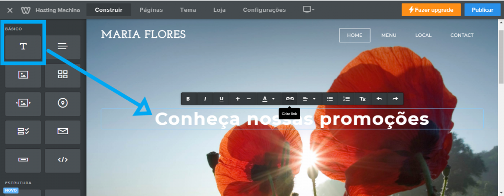 Adicionando texto no criador de sites Weebly
