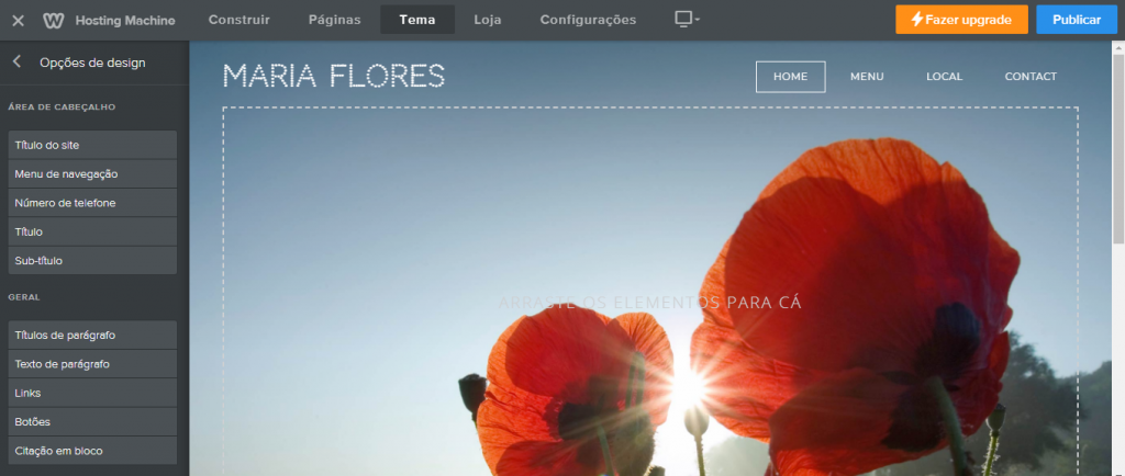 alterar fonte no criador de sites weebly