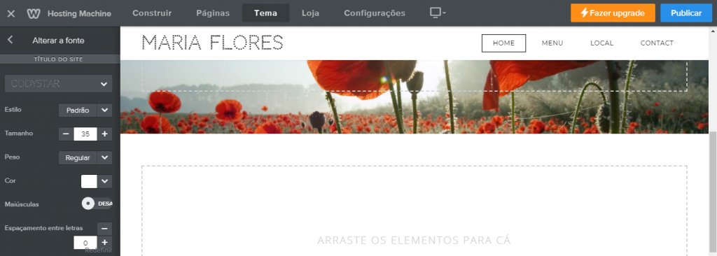 Fontes criador de sites Weebly